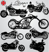 Chopper motos siluetas — Vector de stock