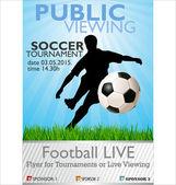 Pubblico visualizzando banner del torneo di calcio — Vettoriale Stock