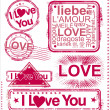 I love you stamps — Stockvectorbeeld
