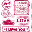 Stock Vector: I love you stamps