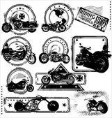 Motorbike stamps-set — Stock Vector