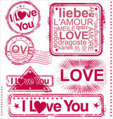 I love you stamps — Vettoriale Stock
