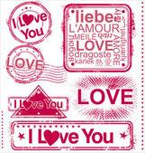 Jag älskar dig frimärken — Stockvektor
