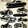 Stock Vector: Old school cars and motorbikes
