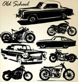 Old school cars and motorbikes — Stock Vector