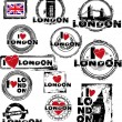 Stock Vector: I love london stamps