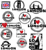 I love london stamps — Stock Vector