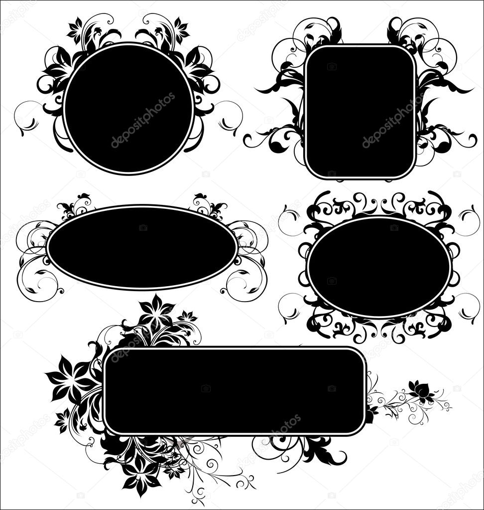 Black floral frames — Stock Vector #6373590