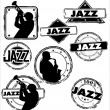Grunge jazz musician stamps — Stock Vector #6408971