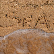 Inscriptions on the sand — Stock Photo