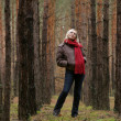 Young alone women in forest — Stock Photo