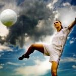 Football girl — Stock Photo