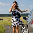 Foto Stock: Woman by car