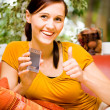 Frau mit dem handy - Stock Photo