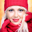 Woman with wool scarf — Stock Photo