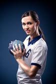 Handball girl — Stock Photo