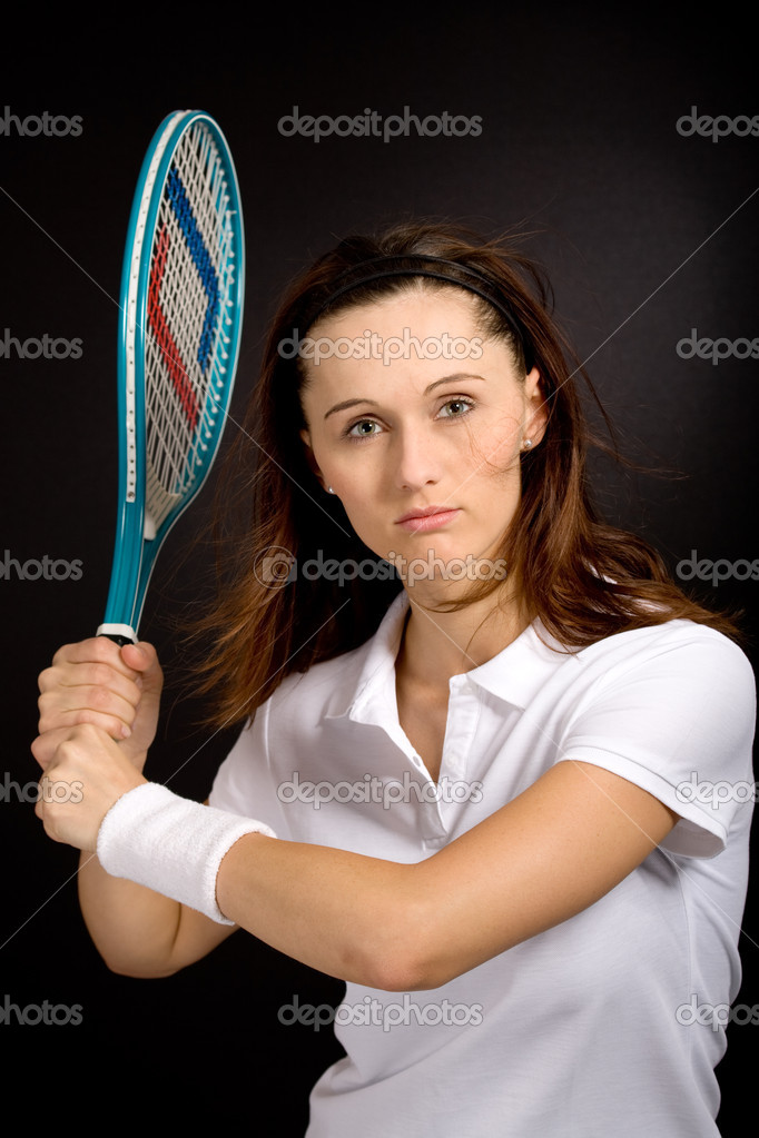 Female tennis player with a racket — Stock Photo #6101583