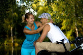 Biking couple — Stock Photo