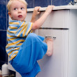 Boy in bathroom — Foto Stock