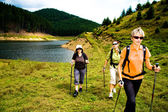 Hiking at lake — Foto Stock