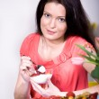 Stock Photo: Woman with yogurt bowl