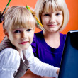 Girls with laptop — Stock Photo