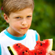 Boy and watermelone — Stock Photo