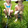 Young girl and boy fishing — Stock Photo #6218820