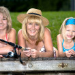 Family fishing at the lake — Stock Photo #6218833