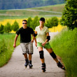Rollerblades for two - Stock Photo