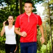 Jogging in forest — Stock Photo #6219389
