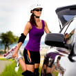 Young woman on rollerblades in the country — Stock Photo #6219463
