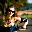 Motorcycle girl — Stock Photo