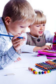 Two drawing kids — Stock Photo