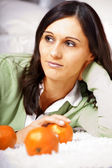 Young women with salad — Stock Photo