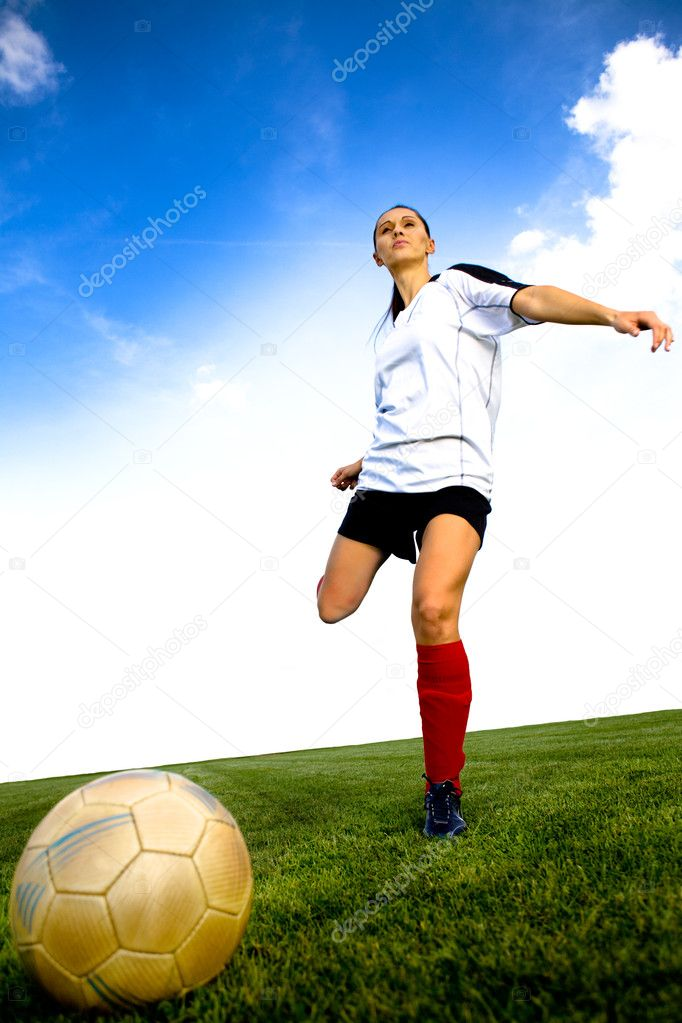 Female soccer player on the field  Stock Photo #6219491