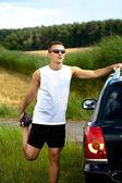 Jogging attraverso i campi — Foto Stock
