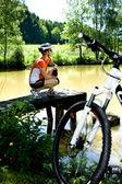 Cycling woman — Stock Photo