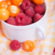 Physalis and raspberry — Stock Photo