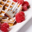 Waffles and raspberries - Stok fotoğraf