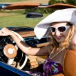 Woman and classic car — Stock Photo