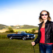 Golf Girl and a classic car — Stock Photo #6255441