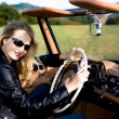 Woman and classic car — Stock Photo #6255446
