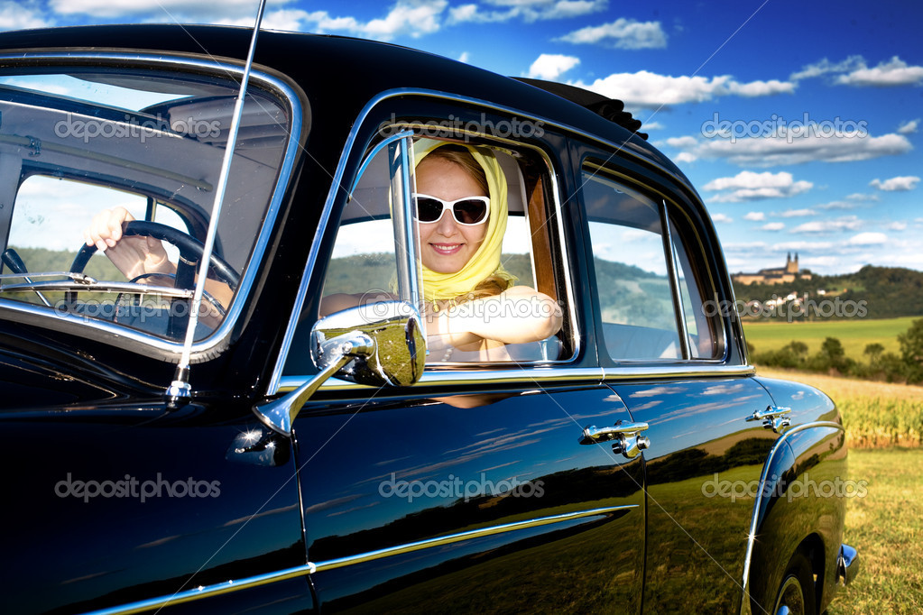 Girl in the Post-War classic car Mercedes Ponton 220SE Y.O.M. 1959 — Stock Photo #6255425
