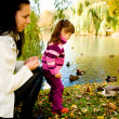 Young family in the autumn park - Foto Stock