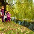 Young family in the autumn park - Photo