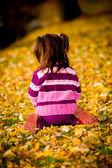 Sonbahar parkta küçük kız — Stok fotoğraf