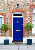 Blue front door — Stock Photo