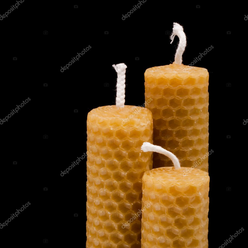Three besswax candles  Stok fotoraf #6172256