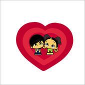 Icon love boy and girl — Stock Vector